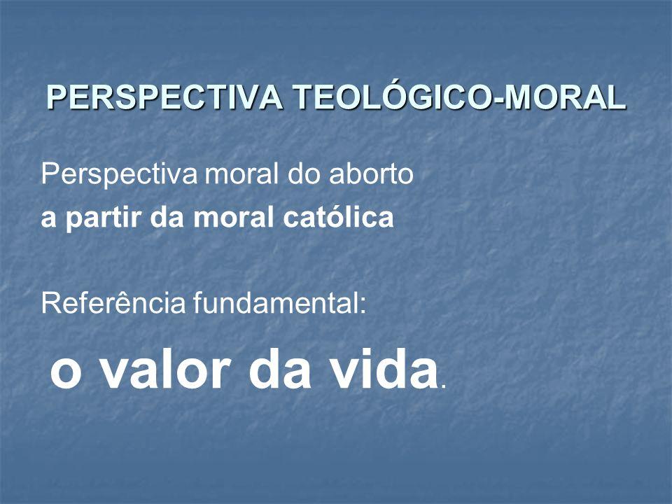 PERSPECTIVA TEOLÓGICO-MORAL Perspectiva moral do aborto a partir da moral católica Referência fundamental: o valor da vida.
