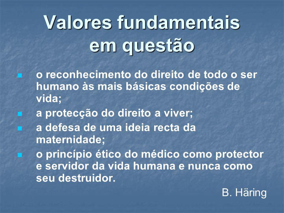 Valores fundamentais em questão o reconhecimento do direito de todo o ser humano às mais básicas condições de vida; a protecção do direito a viver; a