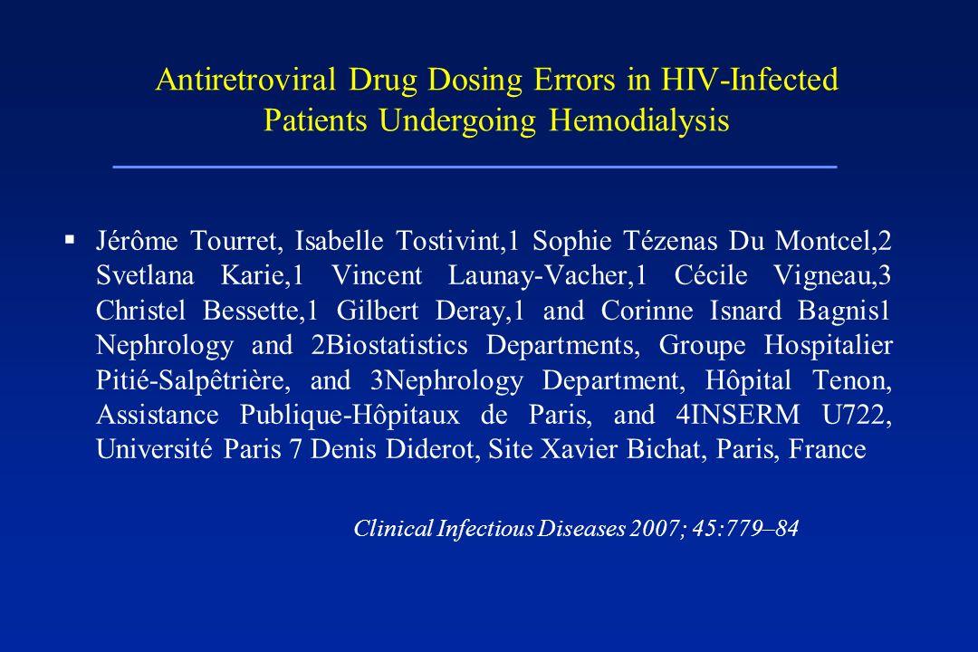 Antiretroviral Drug Dosing Errors in HIV-Infected Patients Undergoing Hemodialysis Jérôme Tourret, Isabelle Tostivint,1 Sophie Tézenas Du Montcel,2 Sv