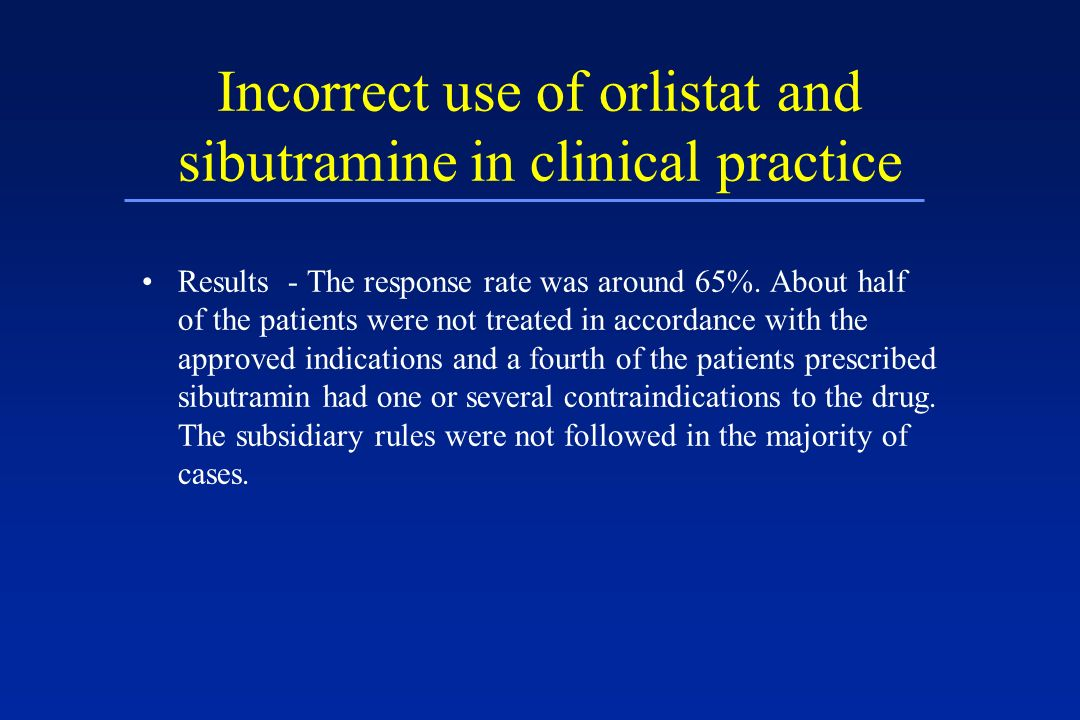 Incorrect use of orlistat and sibutramine in clinical practice Results - The response rate was around 65%. About half of the patients were not treated