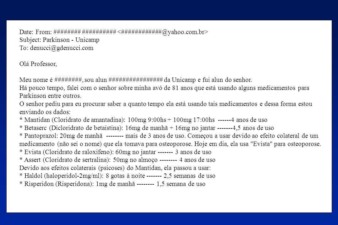 Date: From: ######## ########## Subject: Parkinson - Unicamp To: denucci@gdenucci.com Olá Professor, Meu nome é ########, sou alun ################ da