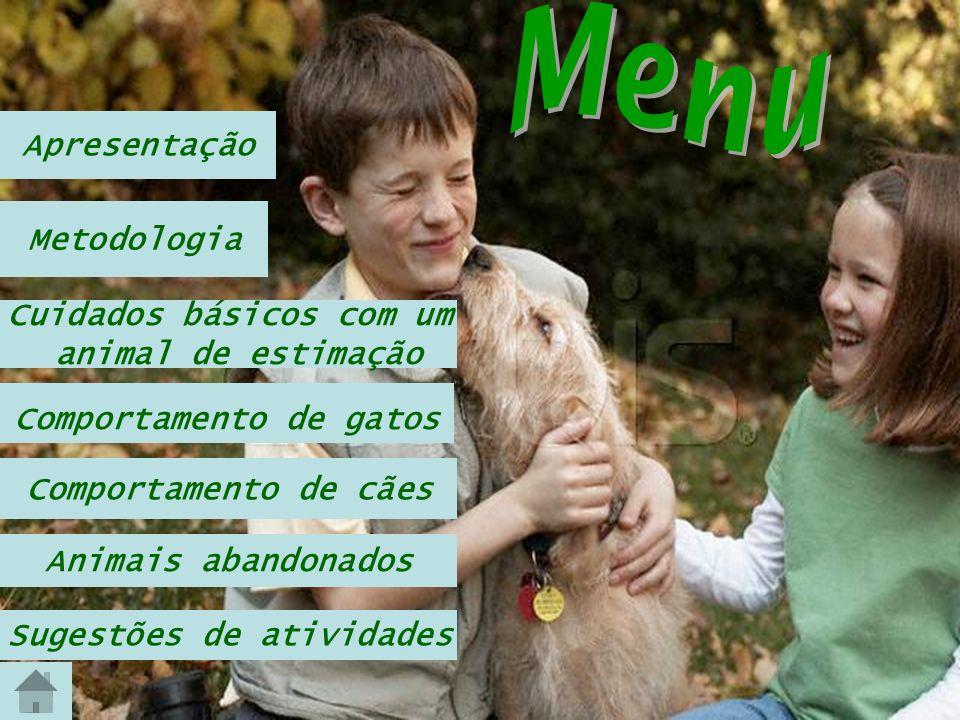 Metodologia Apresentação Cuidados básicos com um animal de estimação Comportamento de gatos Comportamento de cães Animais abandonados Sugestões de ati
