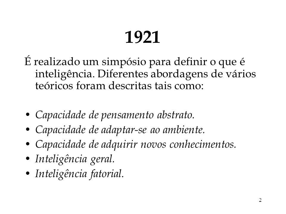 2 1921 É realizado um simpósio para definir o que é inteligência. Diferentes abordagens de vários teóricos foram descritas tais como: Capacidade de pe