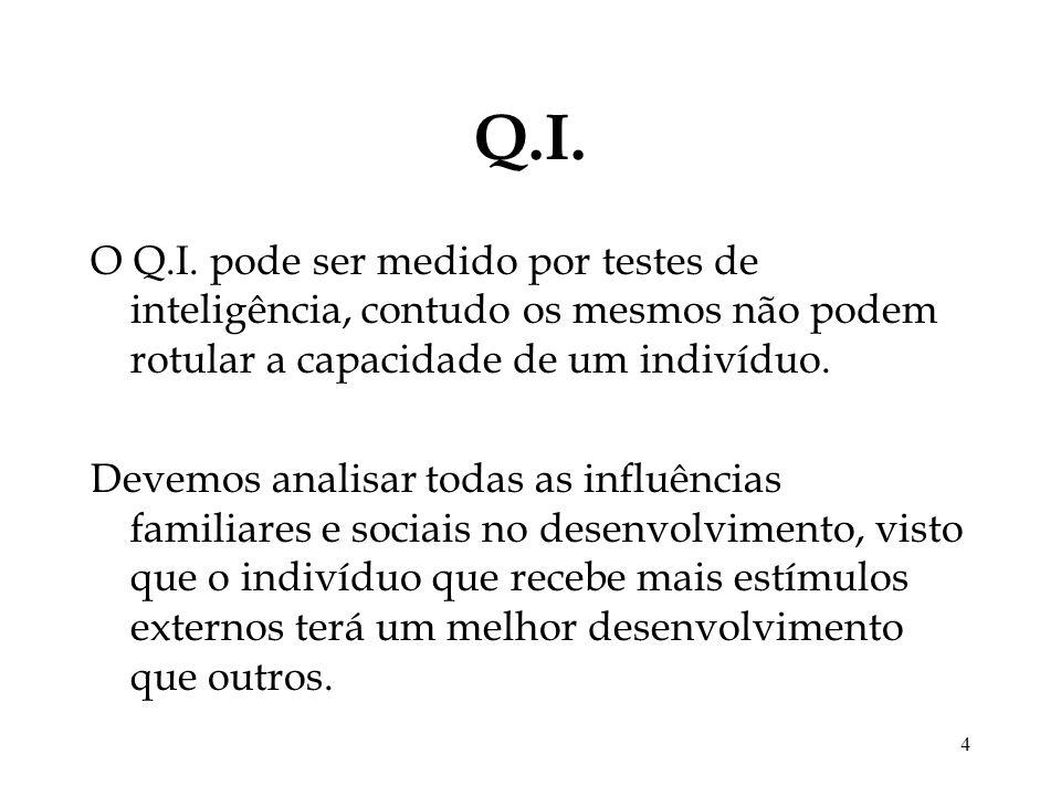 4 Q.I. O Q.I. pode ser medido por testes de inteligência, contudo os mesmos não podem rotular a capacidade de um indivíduo. Devemos analisar todas as