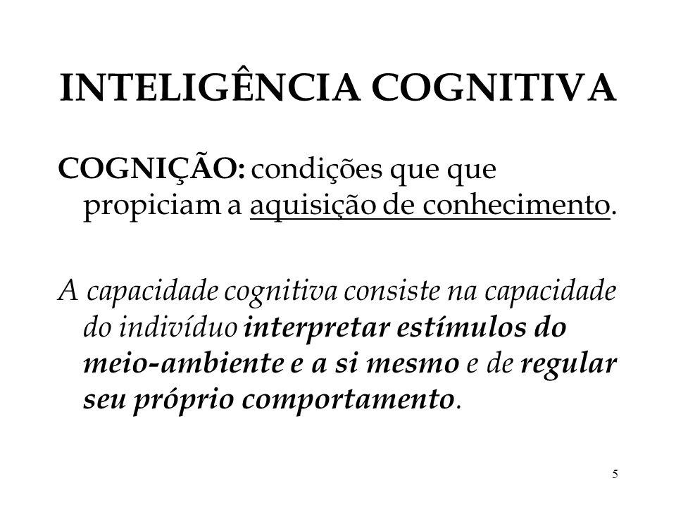 5 INTELIGÊNCIA COGNITIVA COGNIÇÃO: condições que que propiciam a aquisição de conhecimento. A capacidade cognitiva consiste na capacidade do indivíduo