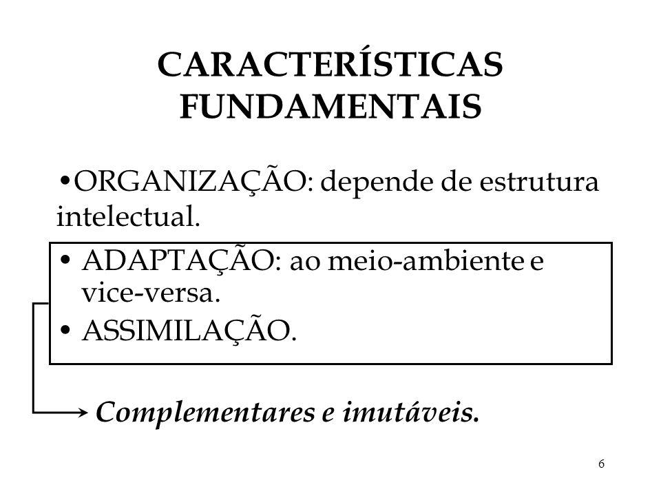 6 CARACTERÍSTICAS FUNDAMENTAIS ADAPTAÇÃO: ao meio-ambiente e vice-versa. ASSIMILAÇÃO. ORGANIZAÇÃO: depende de estrutura intelectual. Complementares e