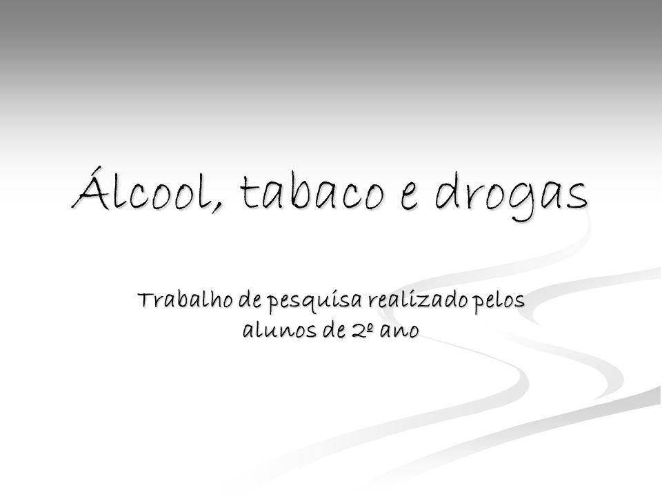 Texto colectivo da turma O álcool, a droga e o tabaco são coisas más, porque prejudicam a saúde de quem os usa e também de todas as pessoas, que estão à volta.