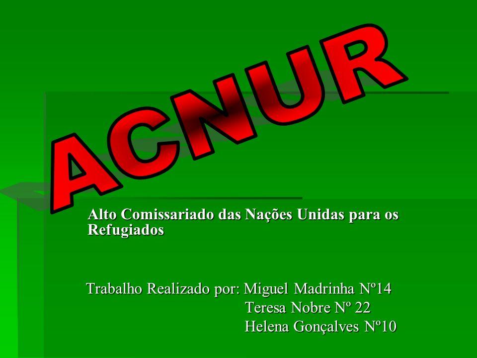 Trabalho Realizado por: Miguel Madrinha Nº14 Teresa Nobre Nº 22 Helena Gonçalves Nº10 Alto Comissariado das Nações Unidas para os Refugiados