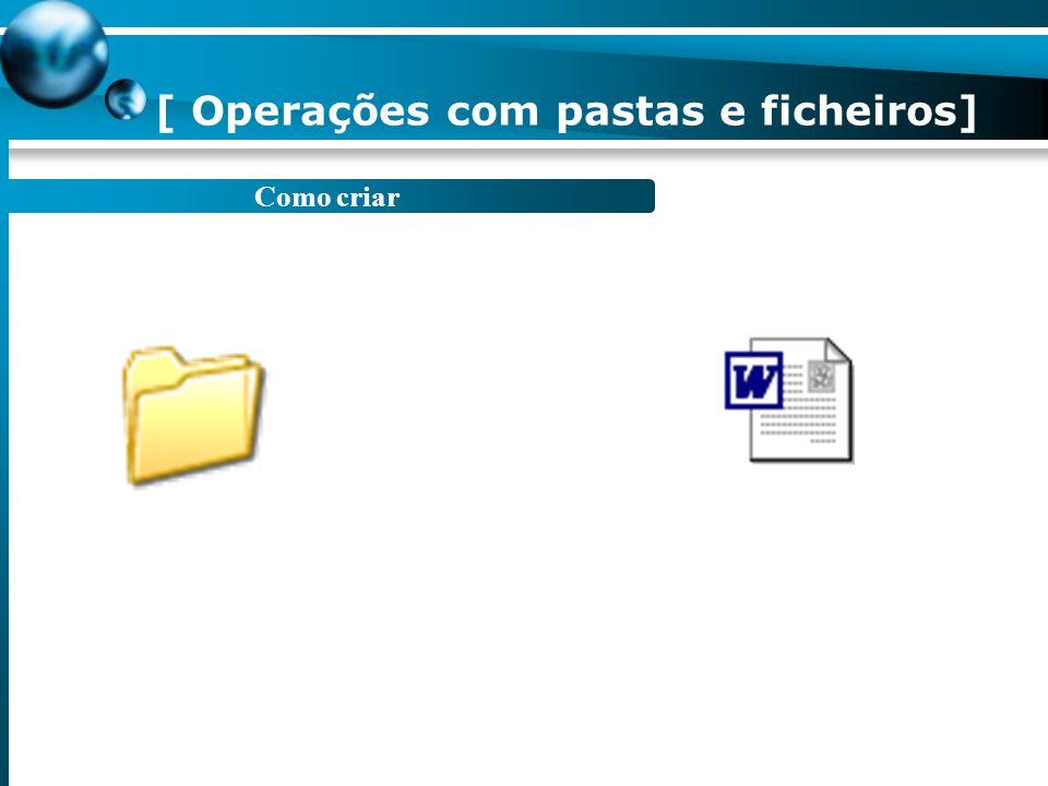 Como abrir Duplo clique sobre o respectivo ícone. 1. Abrir Os meus documentos. 2. Seleccione o ficheiro que pretende. 3. Com o botão direito do rato,