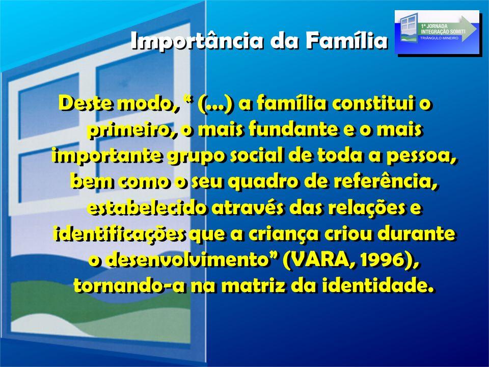 Deste modo, (...) a família constitui o primeiro, o mais fundante e o mais importante grupo social de toda a pessoa, bem como o seu quadro de referênc