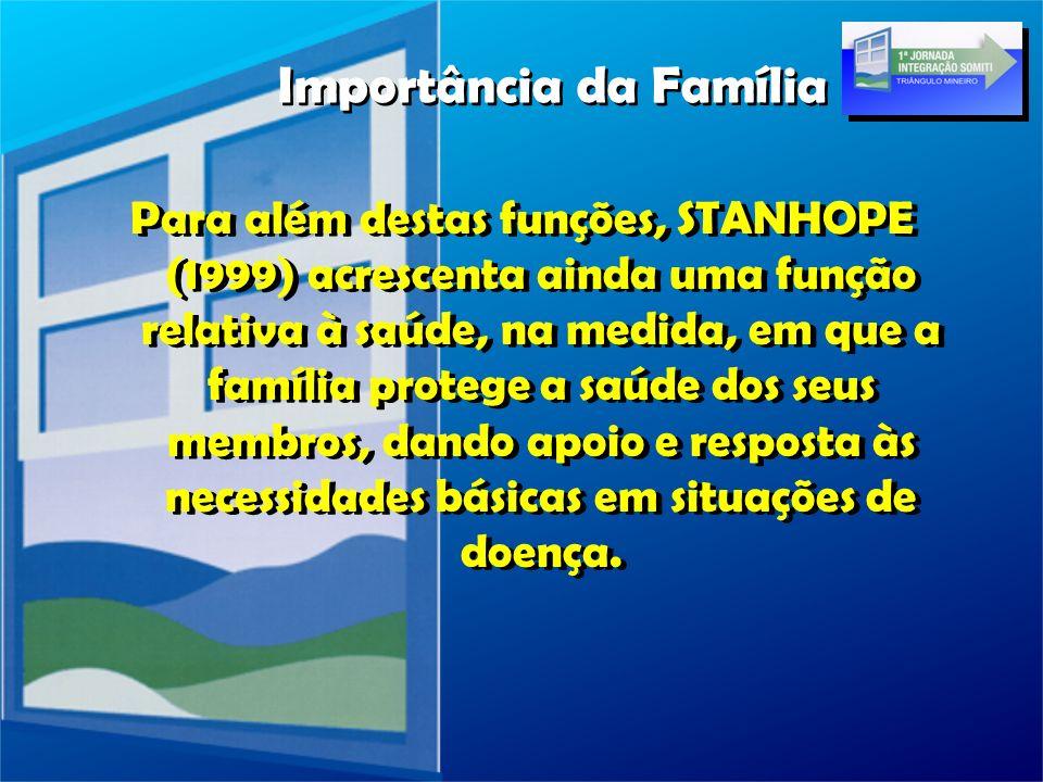 Para além destas funções, STANHOPE (1999) acrescenta ainda uma função relativa à saúde, na medida, em que a família protege a saúde dos seus membros,