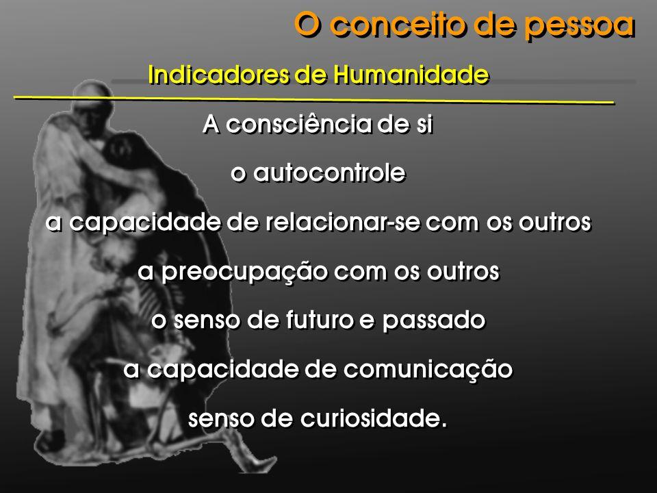 Indicadores de Humanidade A consciência de si o autocontrole a capacidade de relacionar-se com os outros a preocupação com os outros o senso de futuro