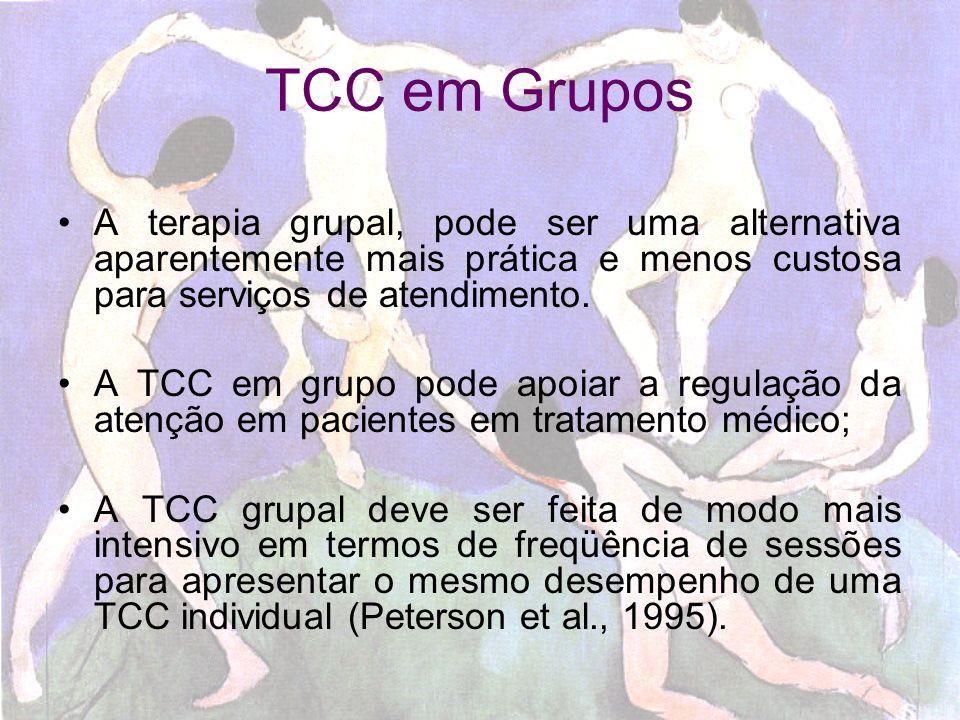 Dificuldades Poucos estudos sobre a prática da TCC em grupo; Geralmente está indicada para lidar com medos e pensamentos irrealistas (fobias); Lidar com grupo aberto; Considerar deficiências físicas decorrentes da doença.