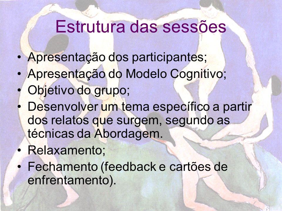 Técnicas prevalentes Modelagem participativa; Reestruturação de pensamentos (Pensamentos Automáticos); Reestruturação de crenças; Psicoeducação combinada à discussões que promovam abertura pessoas e o trabalho de integração.