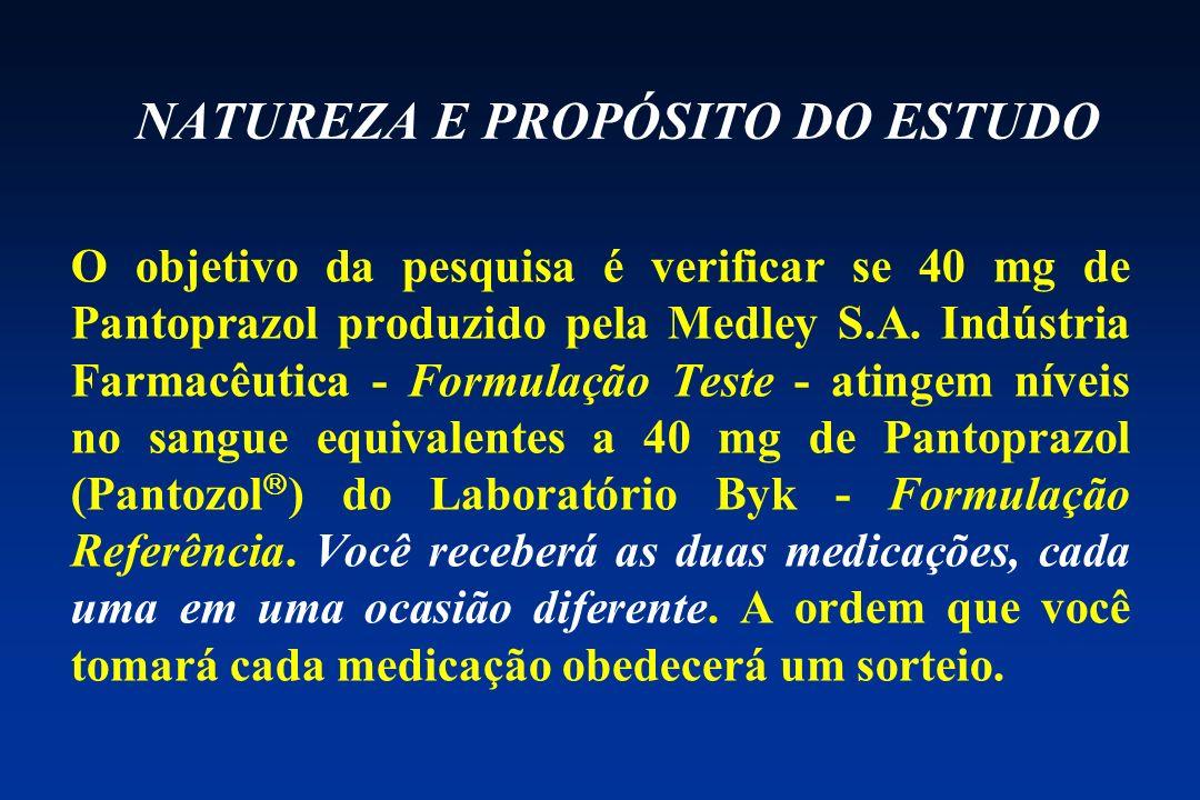 NATUREZA E PROPÓSITO DO ESTUDO O objetivo da pesquisa é verificar se 40 mg de Pantoprazol produzido pela Medley S.A. Indústria Farmacêutica Formulação