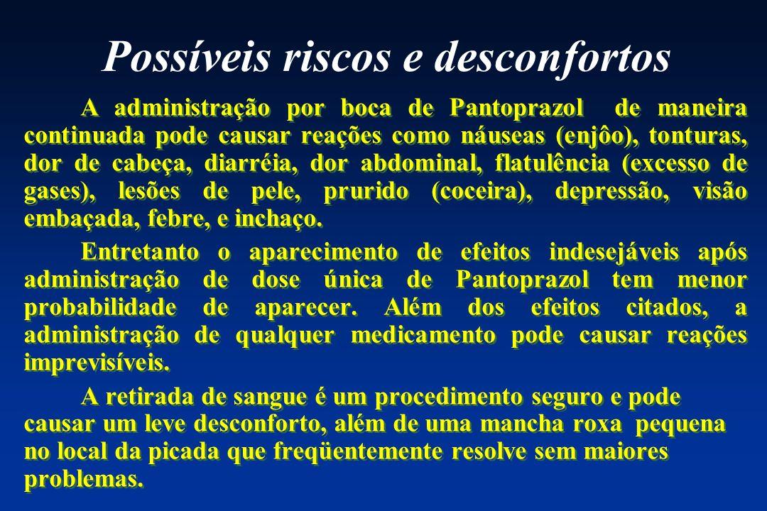 Possíveis riscos e desconfortos A administração por boca de Pantoprazol de maneira continuada pode causar reações como náuseas (enjôo), tonturas, dor