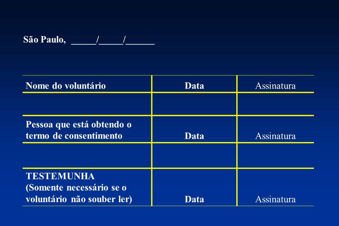 São Paulo, _____/_____/______ Nome do voluntárioDataAssinatura Pessoa que está obtendo o termo de consentimentoDataAssinatura TESTEMUNHA (Somente nece