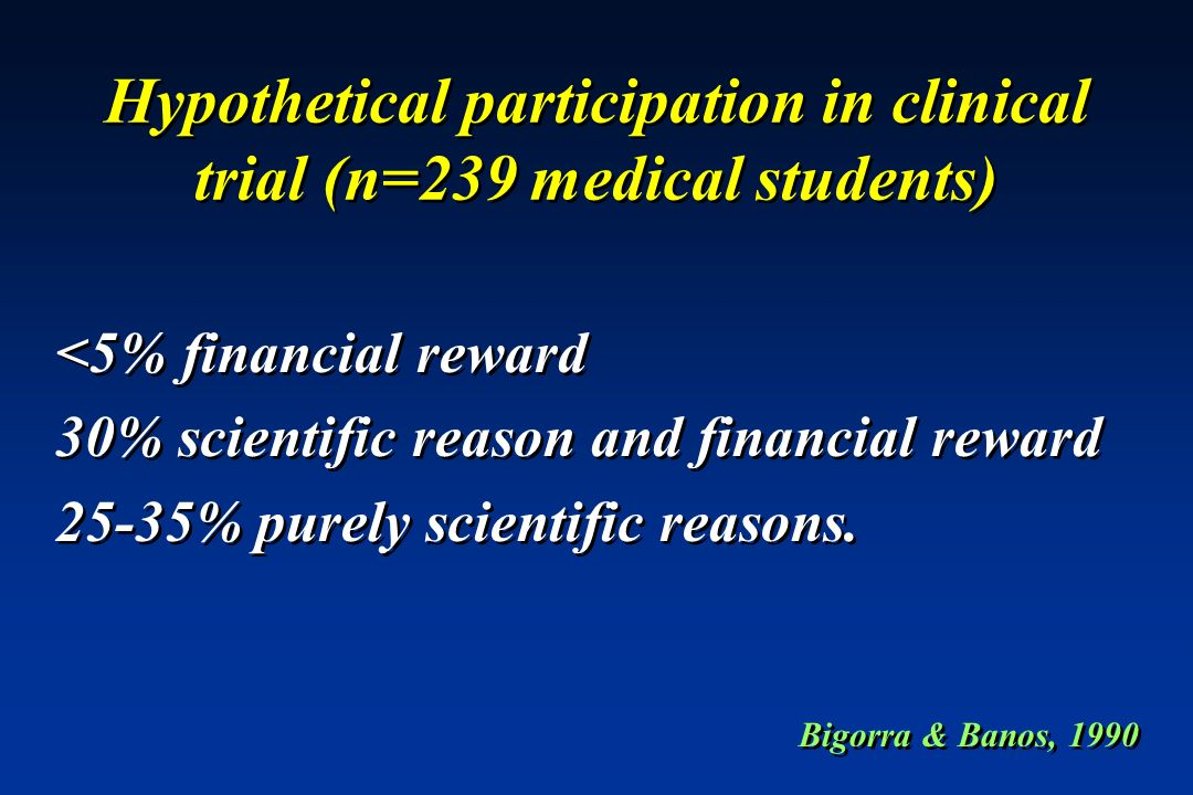 Hypothetical participation in clinical trial (n=239 medical students) <5% financial reward 30% scientific reason and financial reward 25-35% purely sc