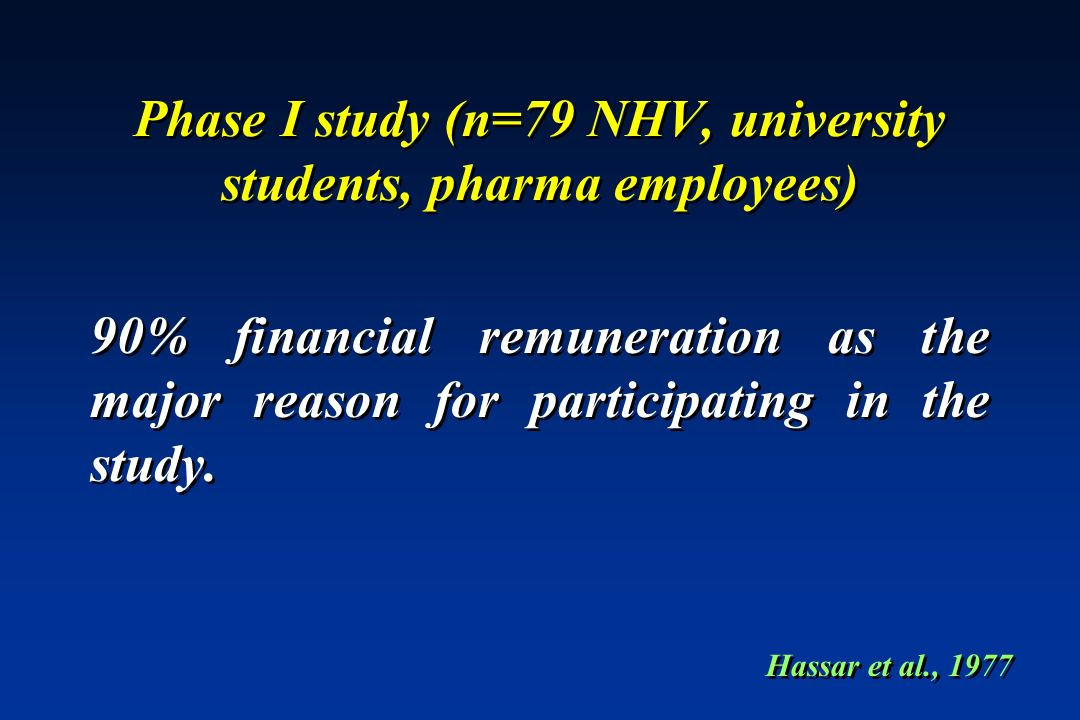 Phase I study (n=79 NHV, university students, pharma employees) 90% financial remuneration as the major reason for participating in the study. Hassar