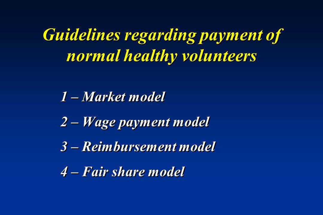 Guidelines regarding payment of normal healthy volunteers 1 – Market model 2 – Wage payment model 3 – Reimbursement model 4 – Fair share model 1 – Mar