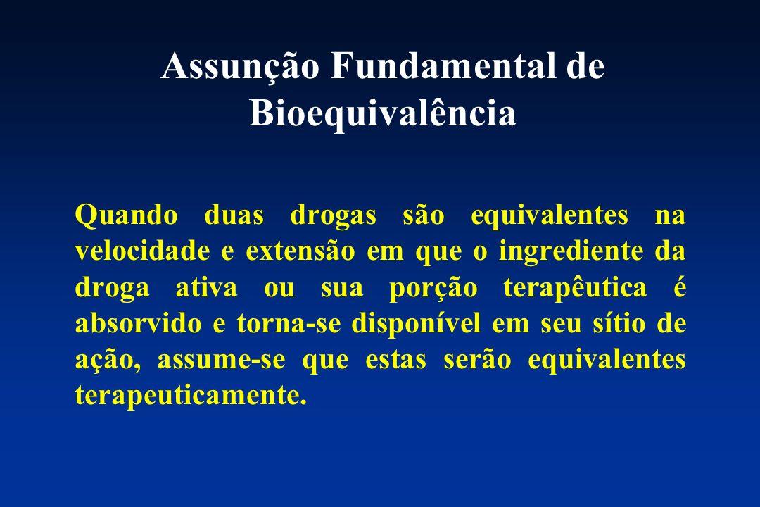 Assunção Fundamental de Bioequivalência Quando duas drogas são equivalentes na velocidade e extensão em que o ingrediente da droga ativa ou sua porção