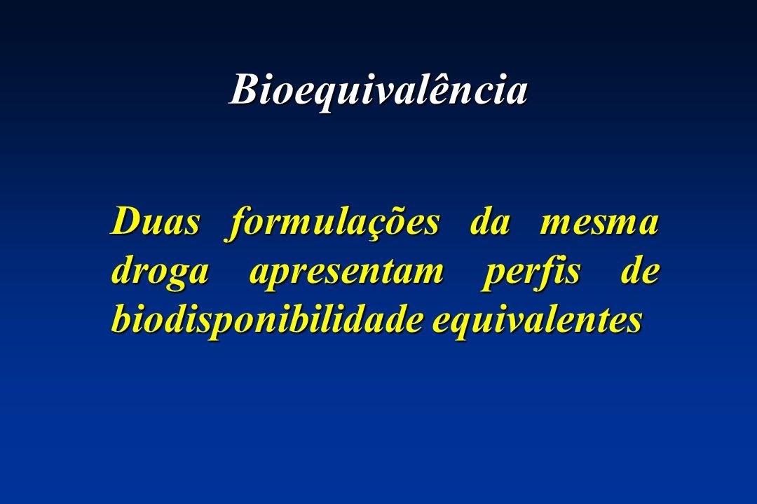 Equivalência 3Estudos comparativos de biodisponibilidade (bioequivalência) em humanos 3Estudos comparativos de farmacodinâmica em humanos 3Triagens clínicas comparativas 3Testes de dissolução in vitro (em certas circunstâncias limitadas)