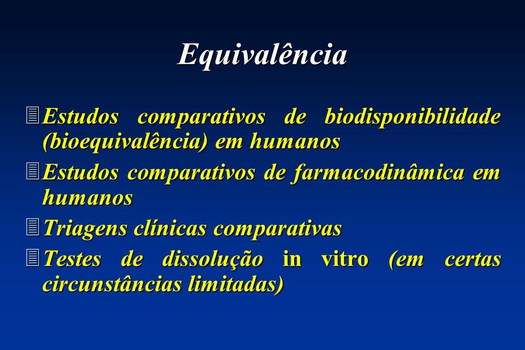 Equivalência 3Estudos comparativos de biodisponibilidade (bioequivalência) em humanos 3Estudos comparativos de farmacodinâmica em humanos 3Triagens cl