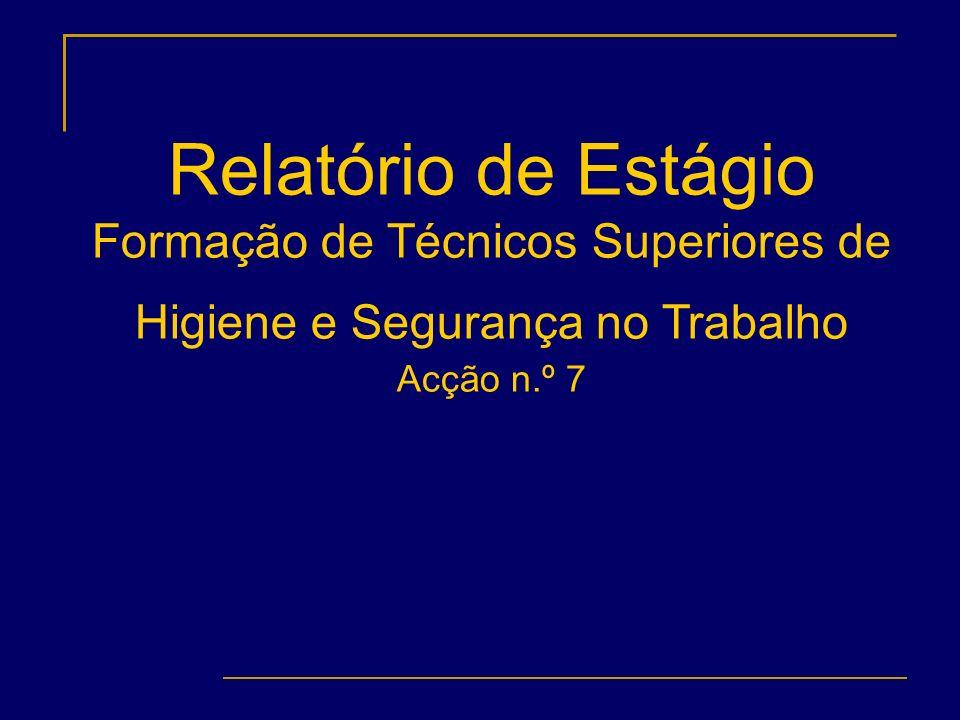 Relatório de Estágio Formação de Técnicos Superiores de Higiene e Segurança no Trabalho Acção n.º 7