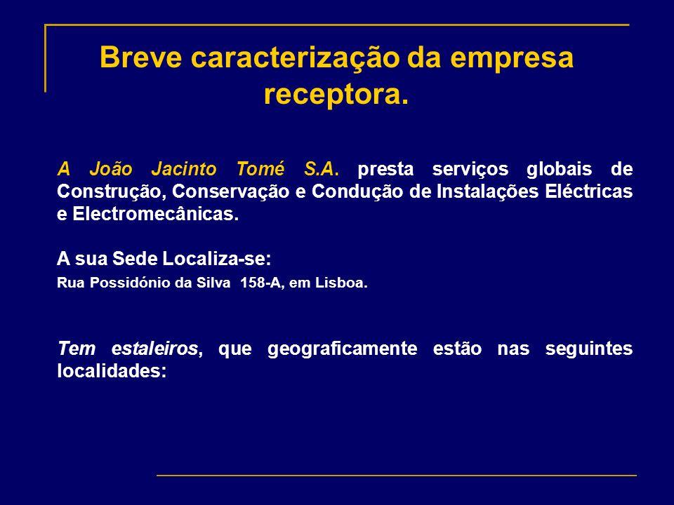 Breve caracterização da empresa receptora. A João Jacinto Tomé S.A. presta serviços globais de Construção, Conservação e Condução de Instalações Eléct