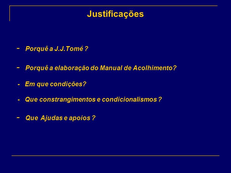Justificações - Porquê a J.J.Tomé ? - Porquê a elaboração do Manual de Acolhimento? - Em que condições? - Que constrangimentos e condicionalismos ? -