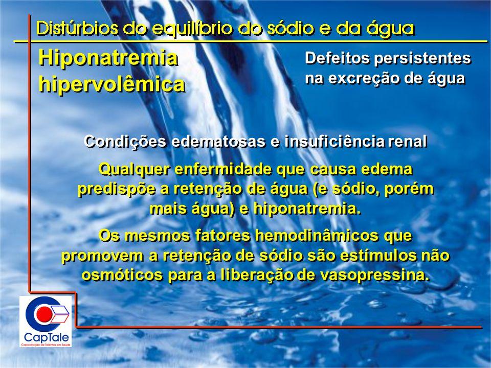 Hiponatremia hipervolêmica Hiponatremia hipervolêmica Condições edematosas e insuficiência renal Qualquer enfermidade que causa edema predispõe a rete