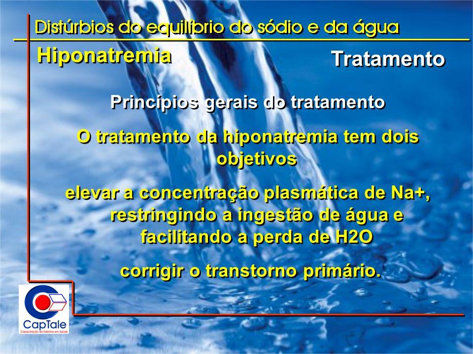 Hiponatremia Tratamento Princípios gerais do tratamento O tratamento da hiponatremia tem dois objetivos elevar a concentração plasmática de Na+, restr