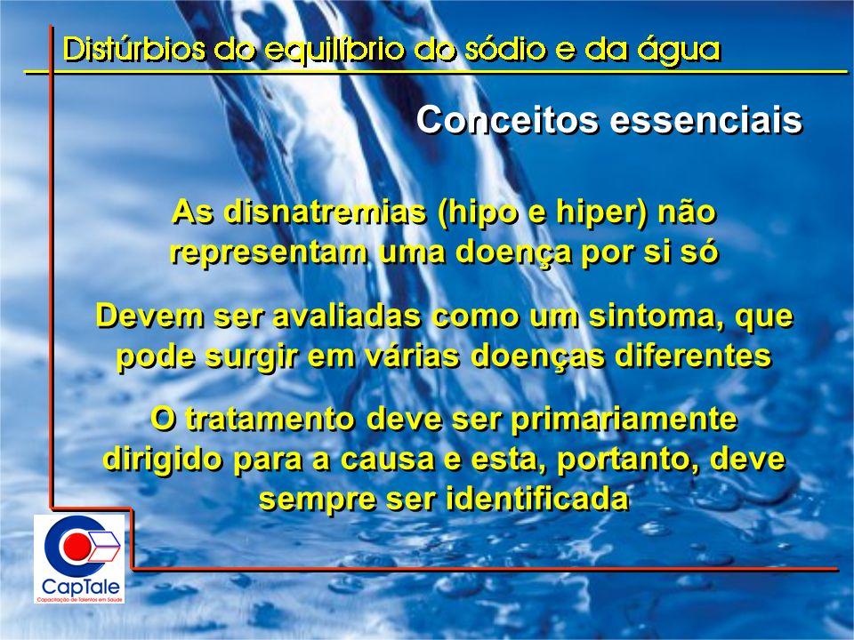 Conceitos essenciais Curiosamente, as disnatremias (hipo e hiper) representam quase sempre um distúrbio da homeostasia da água e não do sódio Os distúrbios da concentração do sódio podem ocorrer por perda ou por acúmulo de água (com ou sem sódio) Os líquidos corporais e a volemia devem ser avaliados sempre em conjunto com o distúrbio da concentração Curiosamente, as disnatremias (hipo e hiper) representam quase sempre um distúrbio da homeostasia da água e não do sódio Os distúrbios da concentração do sódio podem ocorrer por perda ou por acúmulo de água (com ou sem sódio) Os líquidos corporais e a volemia devem ser avaliados sempre em conjunto com o distúrbio da concentração