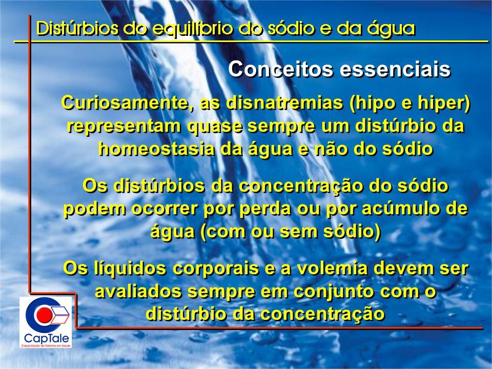 Conceitos essenciais Curiosamente, as disnatremias (hipo e hiper) representam quase sempre um distúrbio da homeostasia da água e não do sódio Os distú