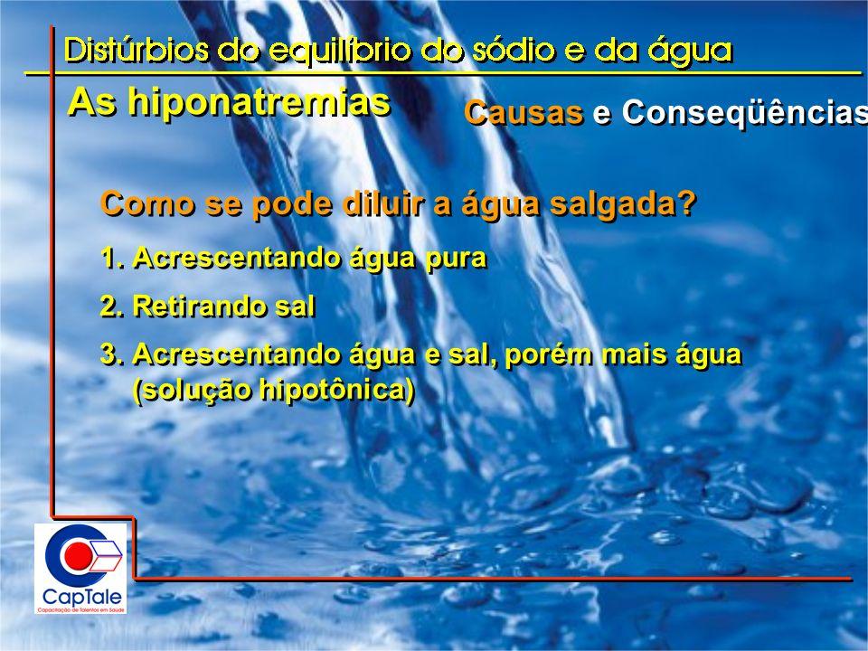 As hiponatremias Causas e Conseqüências Como se pode diluir a água salgada? 1.Acrescentando água pura 2.Retirando sal 3.Acrescentando água e sal, poré