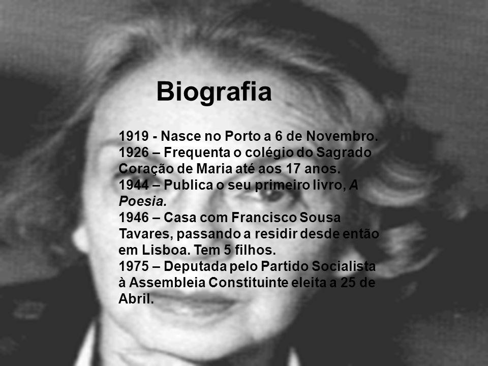 1919 - Nasce no Porto a 6 de Novembro. 1926 – Frequenta o colégio do Sagrado Coração de Maria até aos 17 anos. 1944 – Publica o seu primeiro livro, A