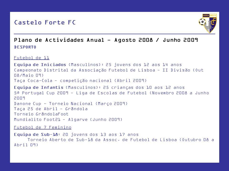 Castelo Forte FC ____________________________________________________ Plano de Actividades Anual - Agosto 2008 / Junho 2009 DESPORTO Futebol de 11 Equ