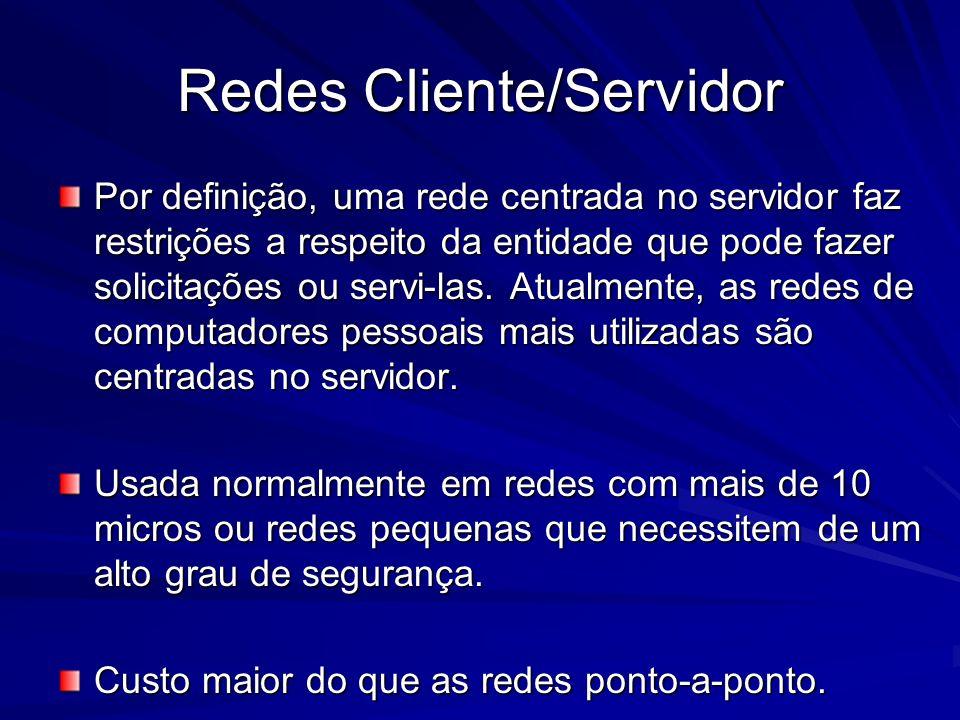 Por definição, uma rede centrada no servidor faz restrições a respeito da entidade que pode fazer solicitações ou servi-las. Atualmente, as redes de c