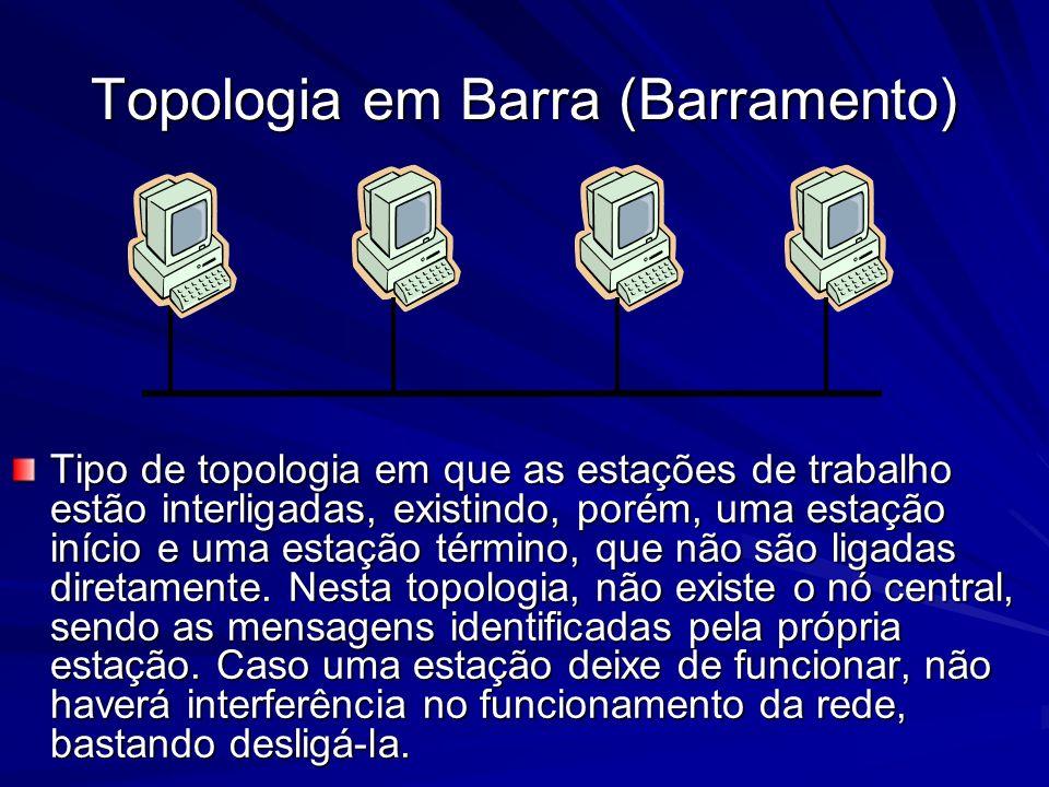 Topologia em Barra (Barramento) Tipo de topologia em que as estações de trabalho estão interligadas, existindo, porém, uma estação início e uma estaçã
