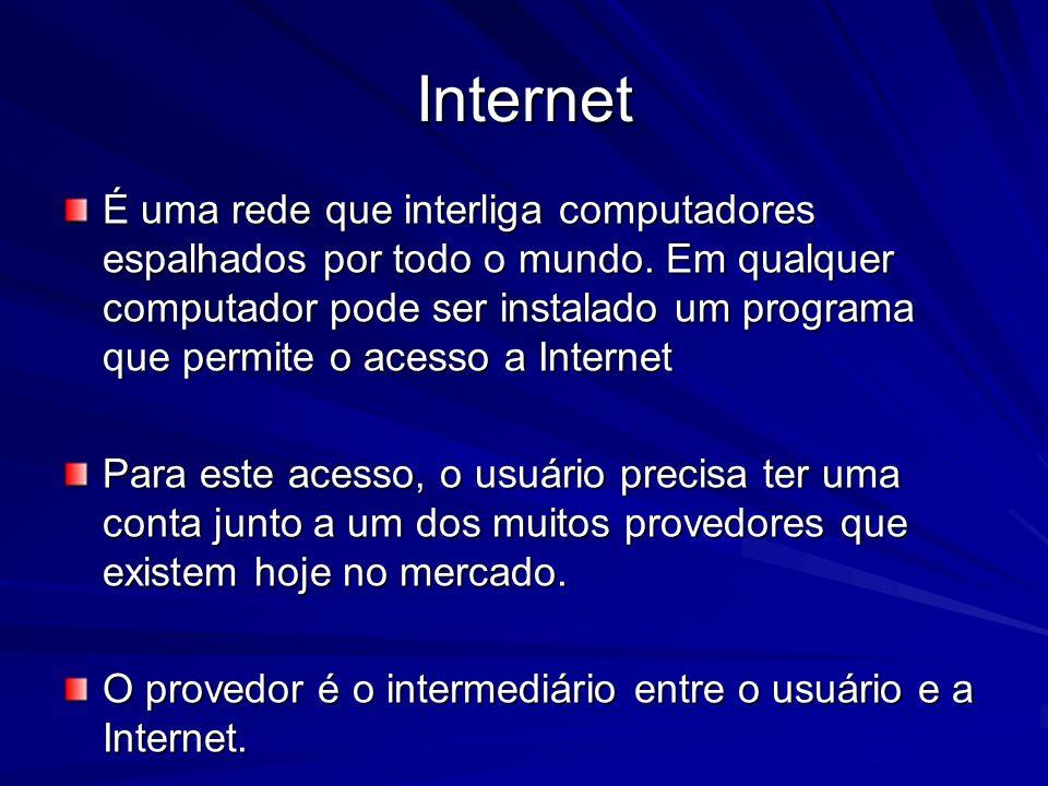 Internet É uma rede que interliga computadores espalhados por todo o mundo. Em qualquer computador pode ser instalado um programa que permite o acesso