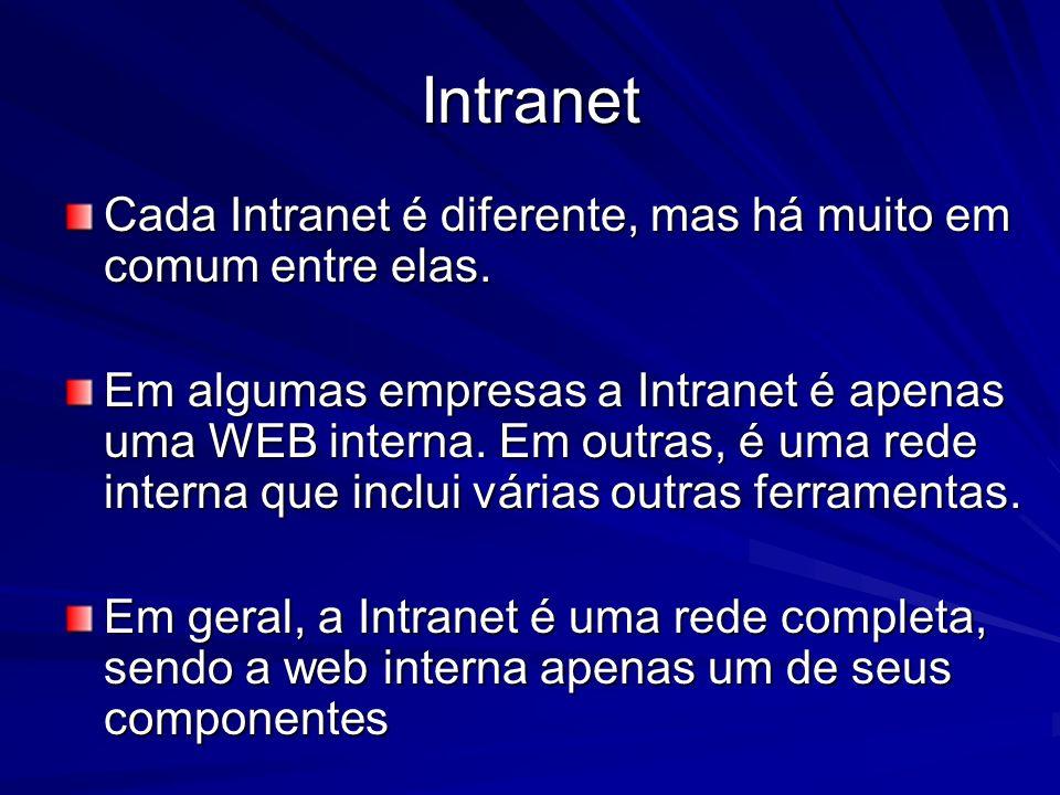 Intranet Alguns componentes comuns da Intranet: –Rede –Correio Eletrônico –Web interna –Grupos de discussão –Chat –Gopher (protocolo de redes de computadores que permite a procura de informação em bases de dados existentes em todo o mundo).