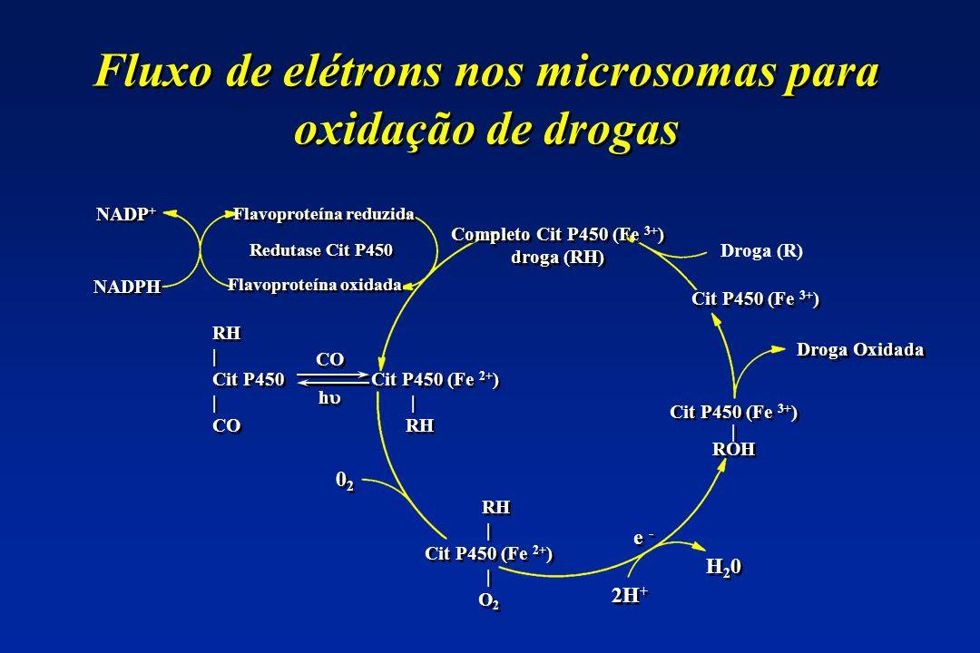 Fluxo de elétrons nos microsomas para oxidação de drogas Droga (R) Cit P450 (Fe 3+ ) Droga Oxidada e - Cit P450 (Fe 3+ ) | ROH Cit P450 (Fe 3+ ) | ROH