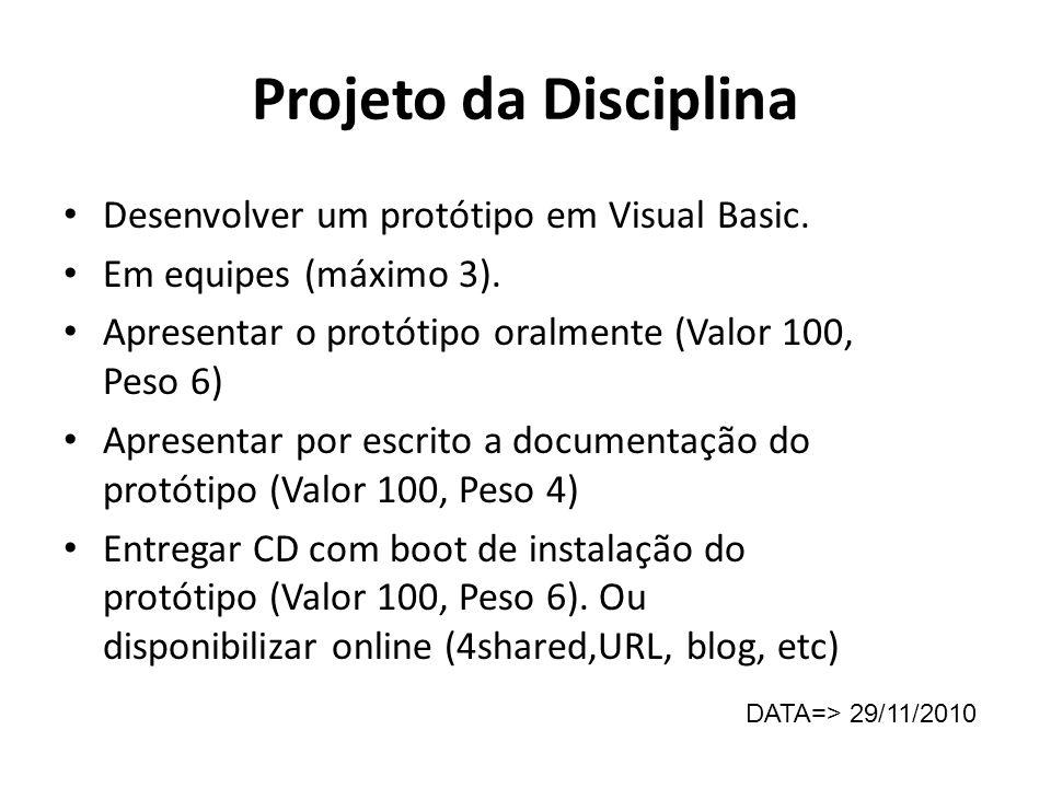 Projeto da Disciplina Desenvolver um protótipo em Visual Basic. Em equipes (máximo 3). Apresentar o protótipo oralmente (Valor 100, Peso 6) Apresentar