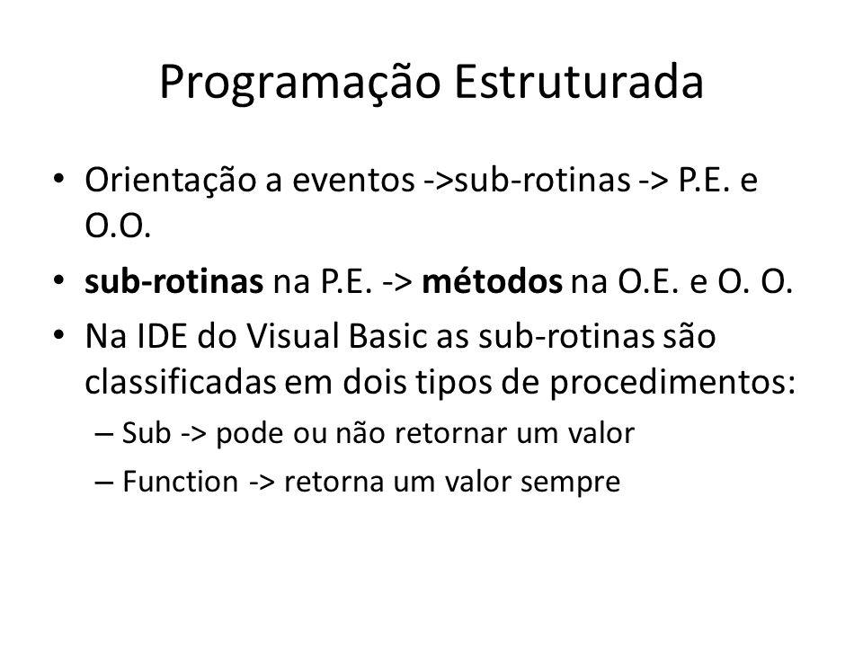 Programação Estruturada Orientação a eventos ->sub-rotinas -> P.E. e O.O. sub-rotinas na P.E. -> métodos na O.E. e O. O. Na IDE do Visual Basic as sub