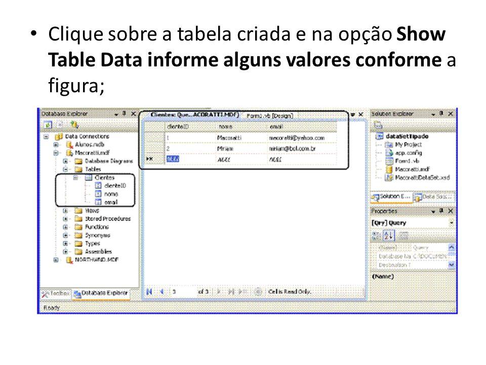 Clique sobre a tabela criada e na opção Show Table Data informe alguns valores conforme a figura;