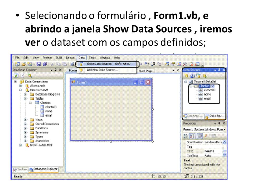 Selecionando o formulário, Form1.vb, e abrindo a janela Show Data Sources, iremos ver o dataset com os campos definidos;