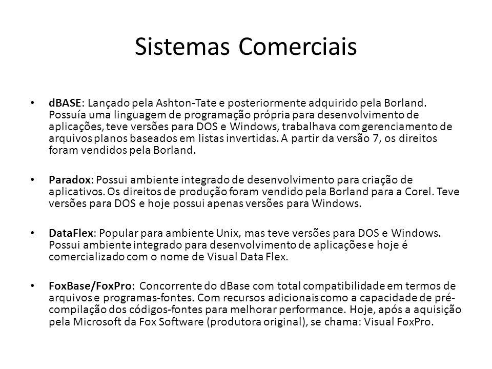 Sistemas Comerciais dBASE: Lançado pela Ashton-Tate e posteriormente adquirido pela Borland. Possuía uma linguagem de programação própria para desenvo