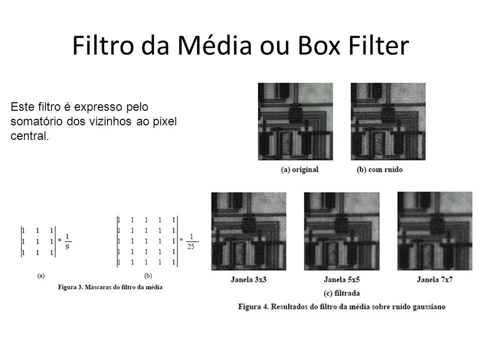 Filtro da Média ou Box Filter Este filtro é expresso pelo somatório dos vizinhos ao pixel central.