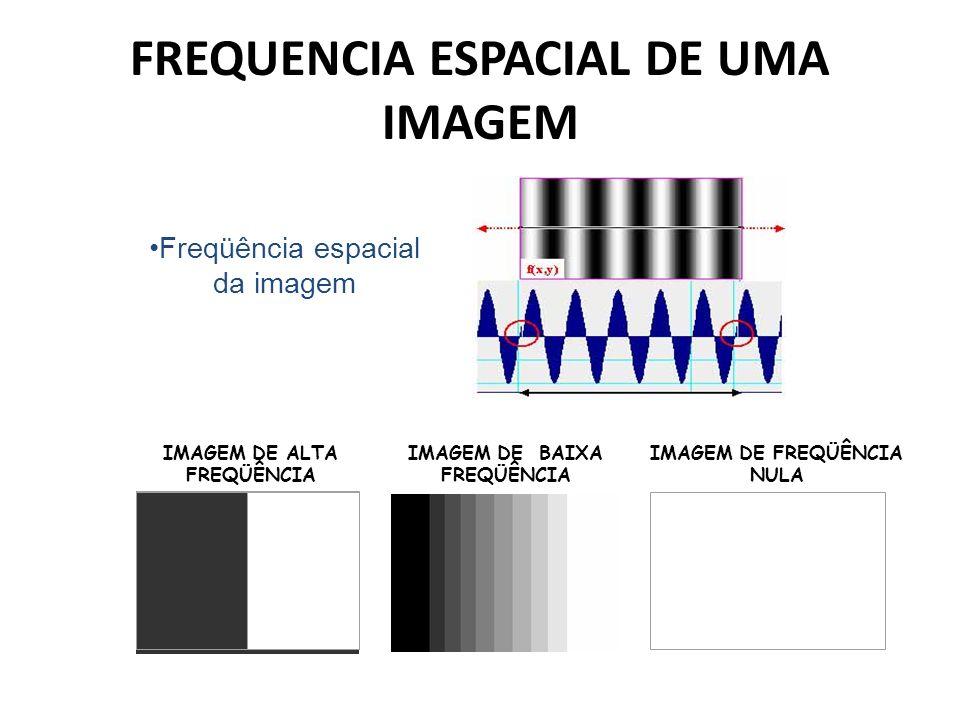 FREQUENCIA ESPACIAL DE UMA IMAGEM Freqüência espacial da imagem IMAGEM DE FREQÜÊNCIA NULA IMAGEM DE ALTA FREQÜÊNCIA IMAGEM DE BAIXA FREQÜÊNCIA