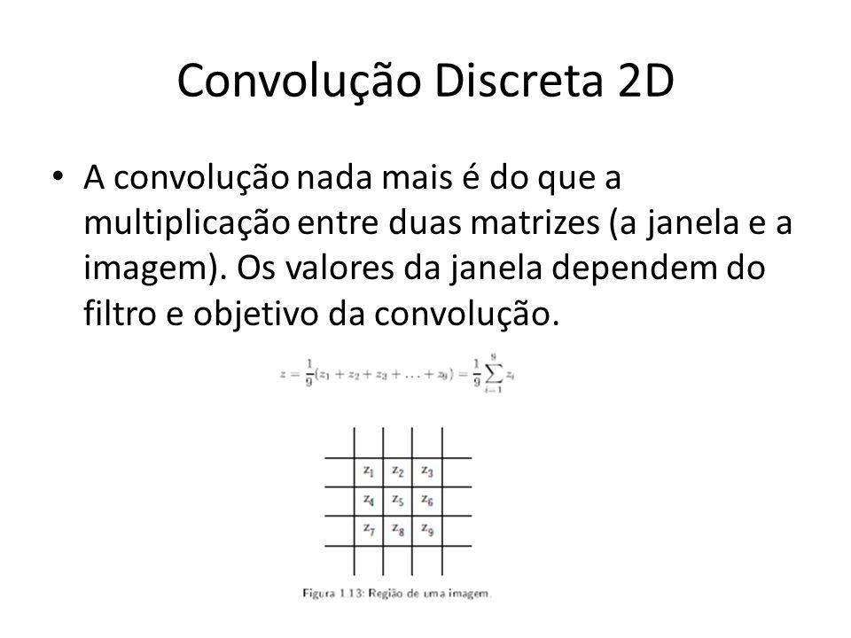 Convolução Discreta 2D A convolução nada mais é do que a multiplicação entre duas matrizes (a janela e a imagem). Os valores da janela dependem do fil
